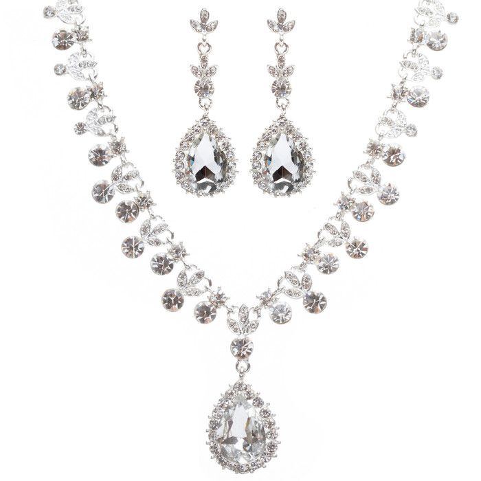 Bridal Wedding Jewelry Set Crystal Rhinestone Gorgeous Teardrop Necklace Silver
