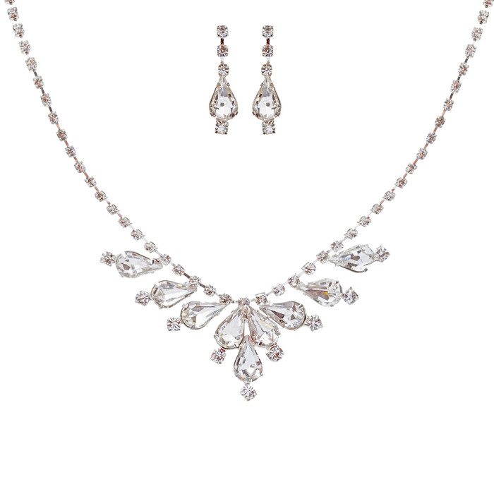 Bridal Wedding Jewelry Set Crystal Rhinestone Classy Stylish Design Necklace