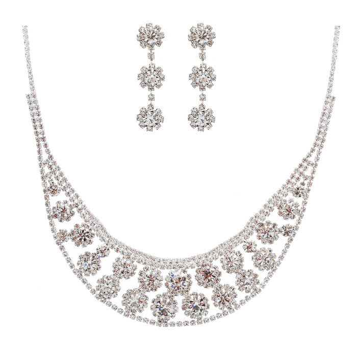 Bridal Wedding Jewelry Set Crystal Rhinestone Sunburst Bib Design Necklace