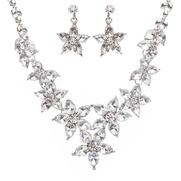 Bridal Wedding Jewelry Set Crystal Rhinestone Star Floral Design Necklace Silver