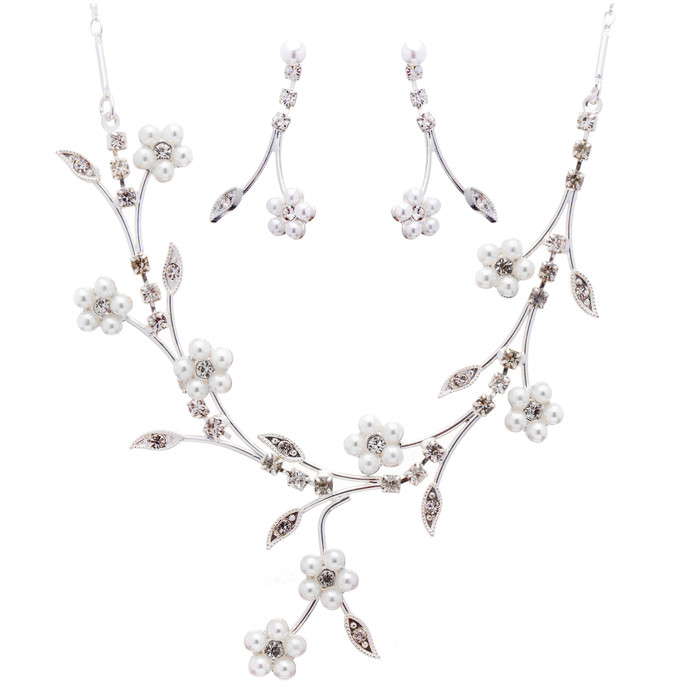 Bridal Wedding Jewelry Set Floral Vine Pearl Rhinestone