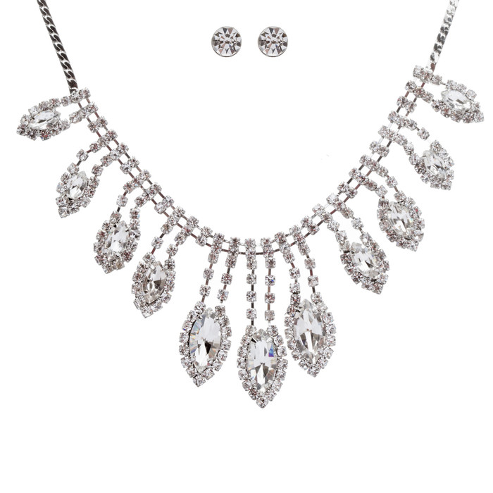 Bridal Wedding Jewelry Crystal Rhinestone Gleaming Dazzle Necklace Earrings SV