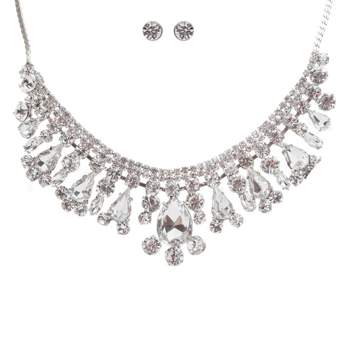 Bridal Wedding Jewelry Crystal Rhinestone Brilliant Bib Design Necklace Earrings