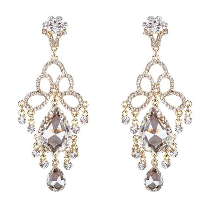 Bridal Wedding Jewelry Crystal Rhinestone Brilliant Loops Design Earrings Gold