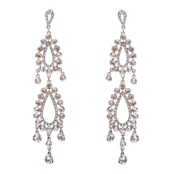 Bridal Wedding Jewelry Crystal Rhinestone Clever Unique Design Dangle Earrings