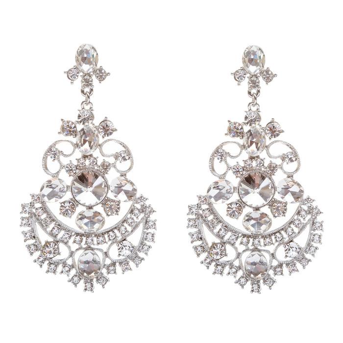 Bridal Wedding Jewelry Crystal Rhinestone Glimmer Sparkle Dangle Earrings Silver
