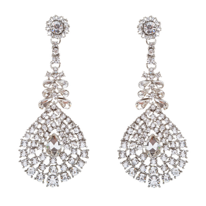 Bridal Wedding Jewelry Crystal Rhinestone Modern Stylish Beautiful Earrings