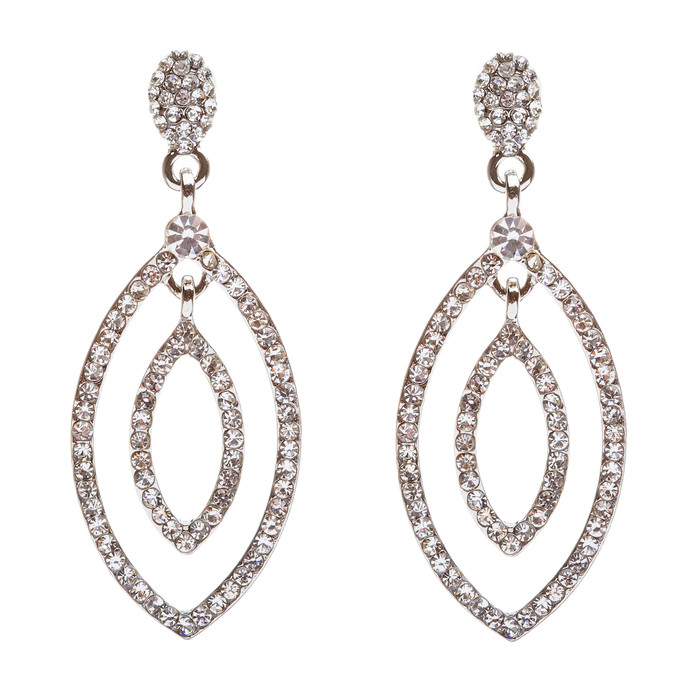 Bridal Wedding Jewelry Crystal Rhinestone Open Ovals Dangle Fashion Earrings