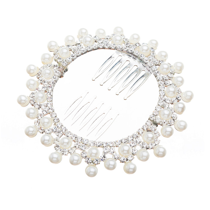 Bridal Wedding Jewelry Crystal Rhinestone Pearl Lined Round Dazzle Hair Comb