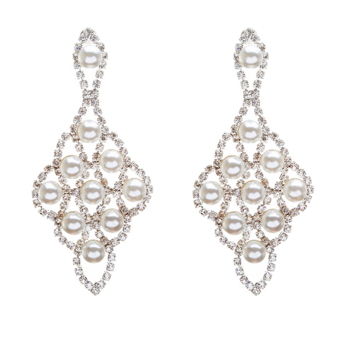 Bridal Wedding Jewelry Crystal Rhinestone Pearl Stylish Elegance Drop Earrings