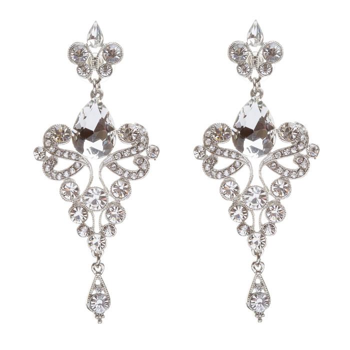 Bridal Wedding Jewelry Crystal Rhinestone Trendy Chic Dazzle Dangle Earrings SV