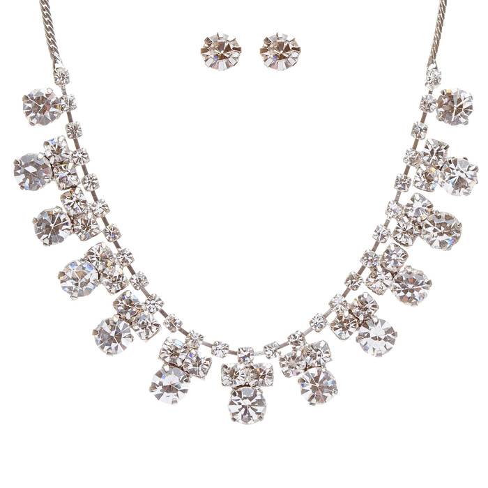 Bridal Wedding Jewelry Set Crystal Rhinestone Simple Classic Linear Bib Necklace
