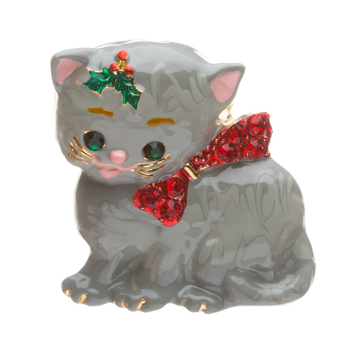 Christmas Jewelry Crystal Rhinestone Adorable Gray Cat Bow Tie Charm Brooch PIn