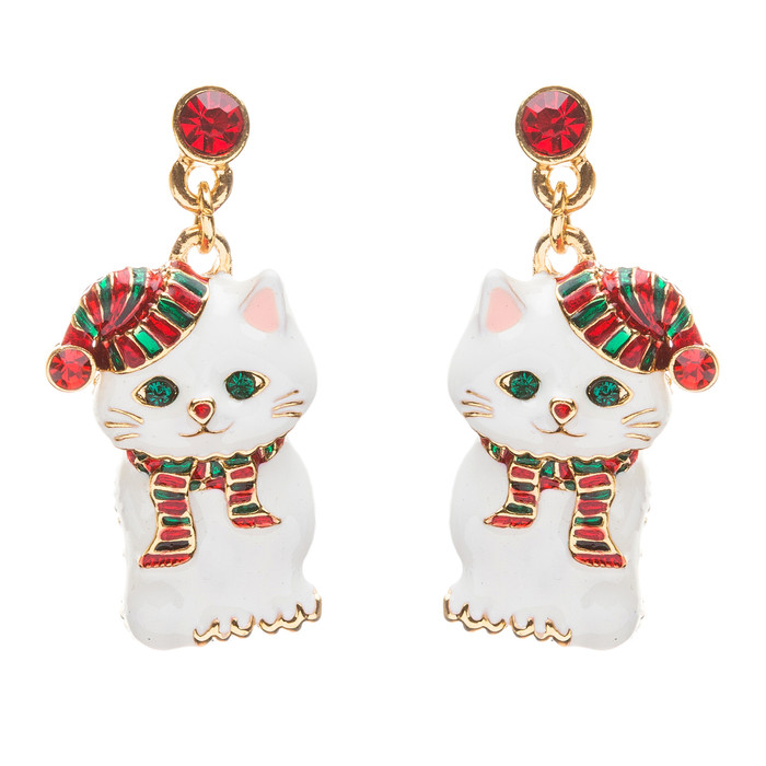 Christmas Jewelry Crystal Rhinestone Cute Santa Hat White Cat Charm Earrings
