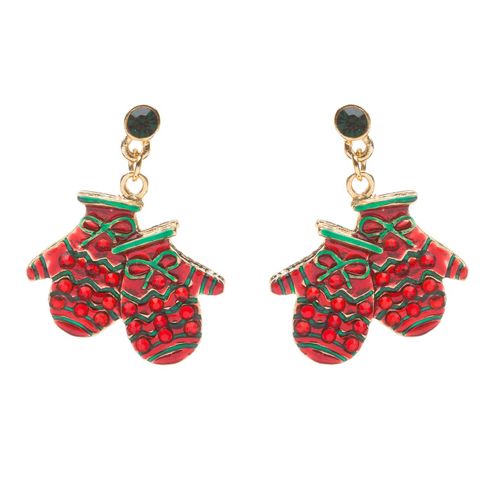 Christmas Jewelry Crystal Rhinestone Santa Mittens Gloves Charm Dangle Earrings