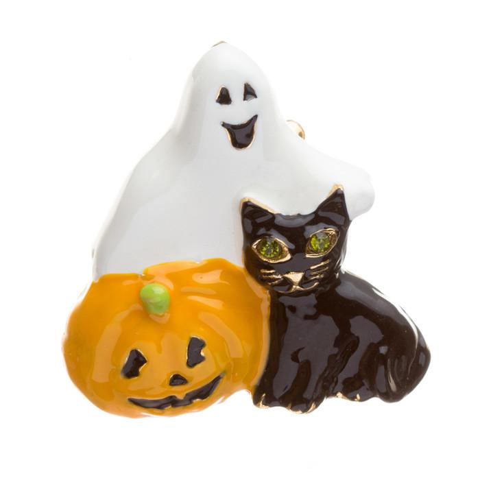 Halloween Costume Jewelry Rhinestone Enamel Pumpkin Ghost Black Cat Brooch Pin