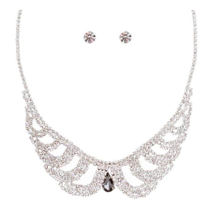 Bridal Wedding Jewelry Crystal Rhinestone Vintage Lace Design Necklace Silver