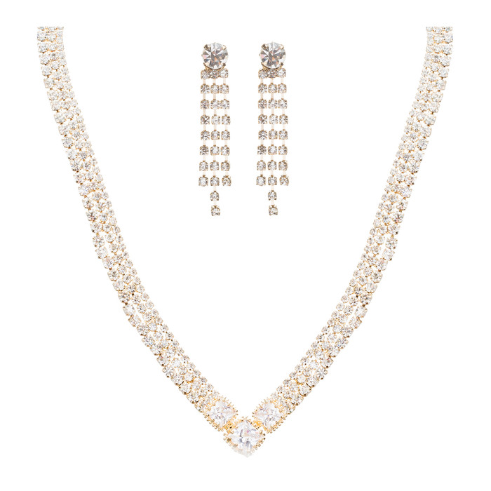 Bridal Wedding Jewelry Crystal Rhinestone Simple Sparkle Design Necklace Gold