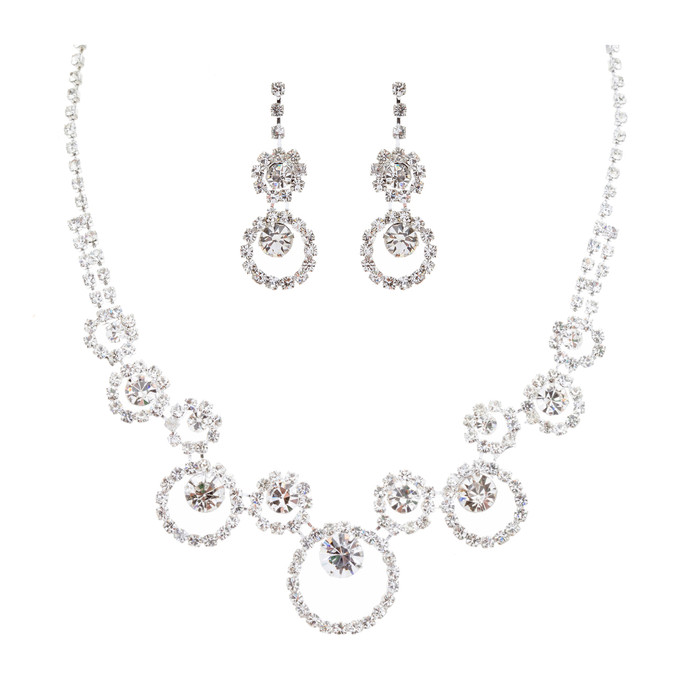 Bridal Wedding Jewelry Crystal Rhinestone Encircling Round Design Necklace SV
