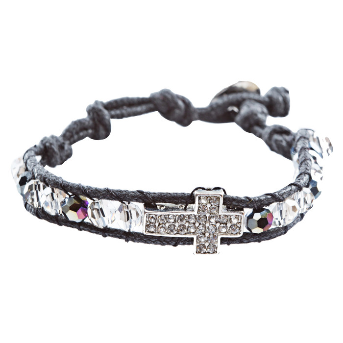 Cross Jewelry Sparkle Crystal Rhinestone Cord Wrap Fashion Bracelet Silver Black