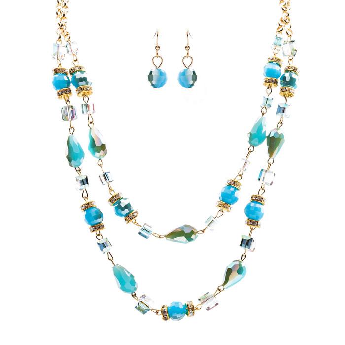 Beautiful Fashion Beads Double Layered Design Statement Necklace Set Blue