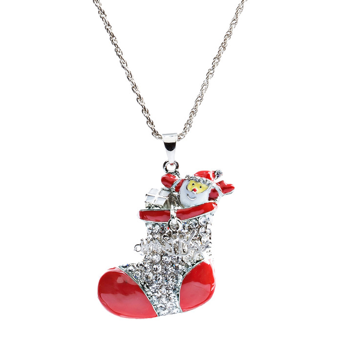 Christmas Jewelry Happy Holiday Spirit Crystal Santa Claus in Sock Long Necklace
