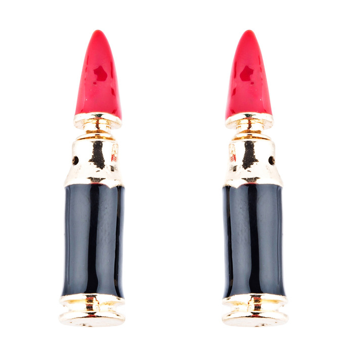 Fun Fashion Stylish Lipstick Back Closure Design Enamel Stud Earrings Red Gold