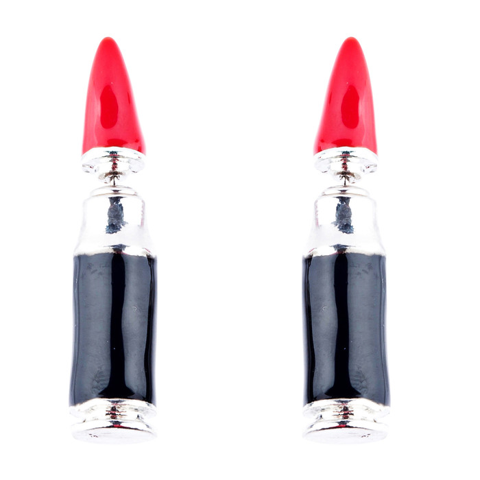 Fun Fashion Stylish Lipstick Back Closure Design Enamel Stud Earrings Red Silver