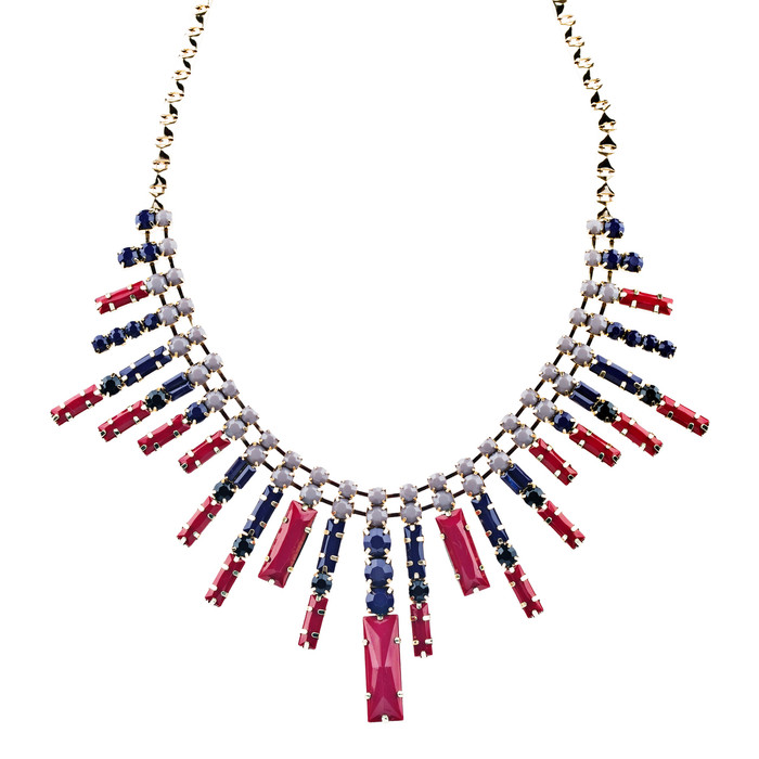 Modern Chic Trendy Dazzle Crystal Rhinestone Statement Jewelry Necklace Red