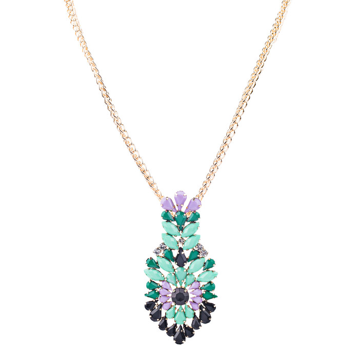 Beautiful Unique Colorful Pendant Statement Jewelry Fashion Necklace Gold Green