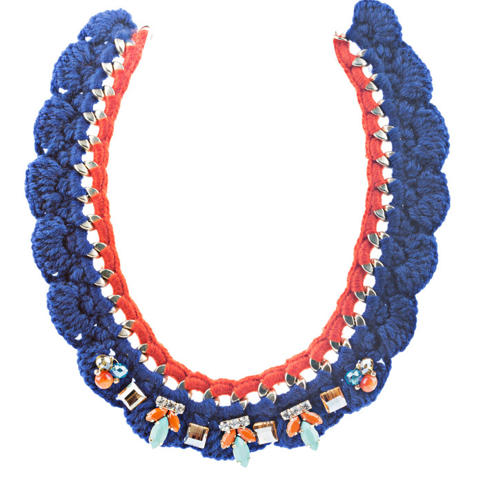 Gorgeous Style Crystal Formica Knitted Design Statement Jewelry Necklace Blue