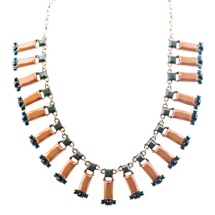 Stunning Simple Formica Crystal Bib Design Statement Jewelry Necklace Brown