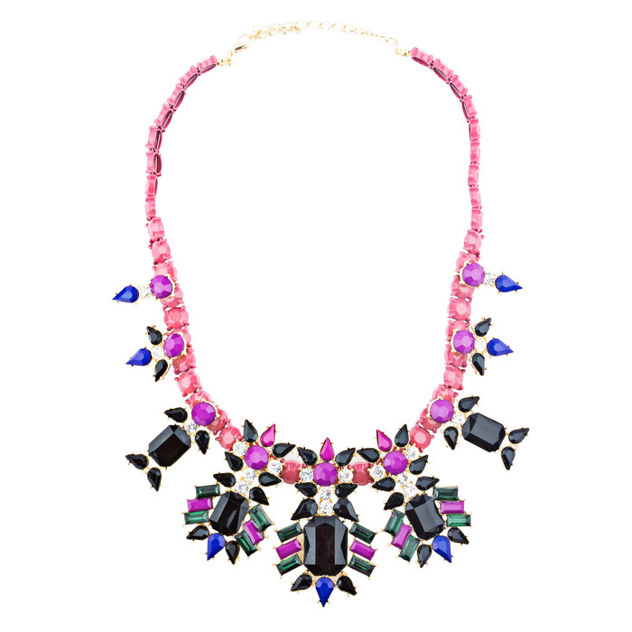 Beautiful Formica Crystal Glass Stone Stunning Statement Jewelry Necklace Pink