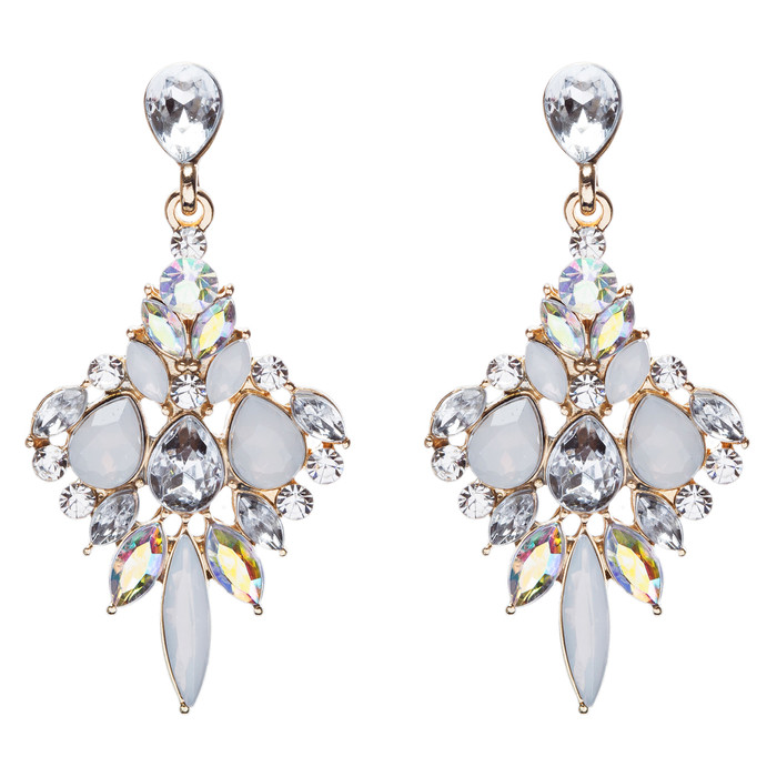Beautiful Glamorous Bridal Crystal Rhinestone Dangle Fashion Earrings Gold Clear