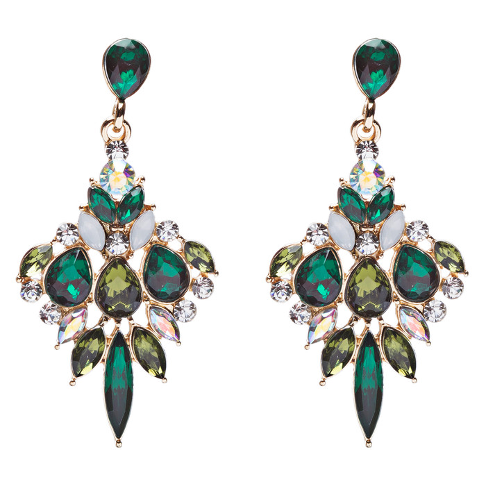 Beautiful Glamorous Bridal Crystal Rhinestone Dangle Fashion Earrings Gold Green