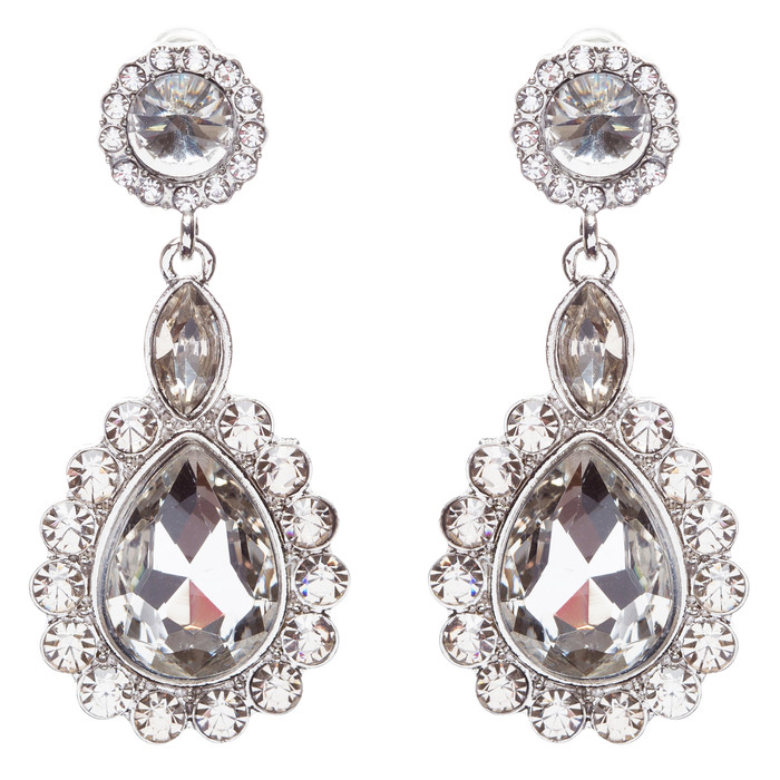 Beautiful Glamorous Bridal Crystal Rhinestone Teardrop Dangle Earrings Silver