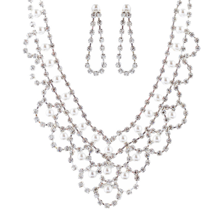 Bridal Wedding Jewelry Set Necklace Crystal Rhinestone V-Drape Pearl Silver
