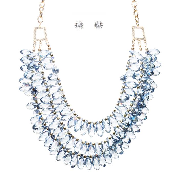 Beautiful Multi Layered Bib Design Cluster Bead Statement Necklace Set Blue