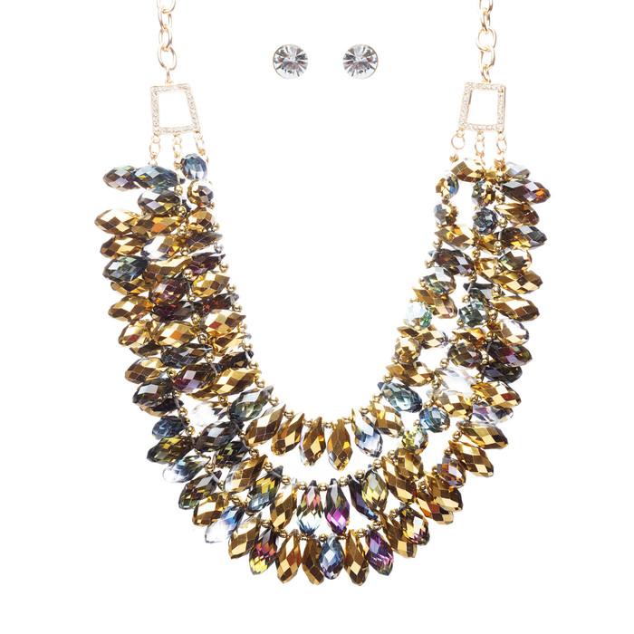 Beautiful Multi Layered Bib Design Cluster Bead Statement Necklace Set Multi