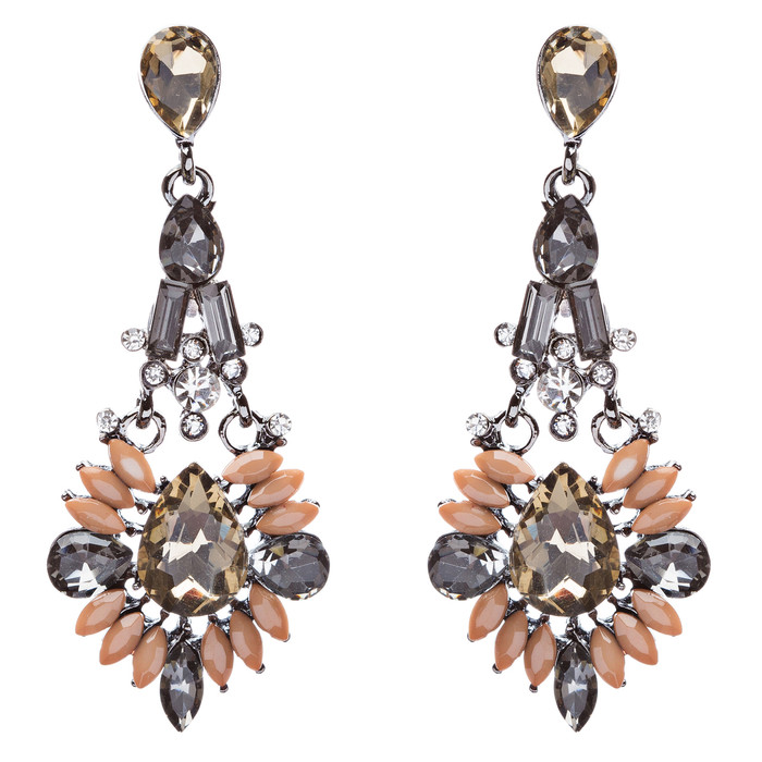Beautiful Crystal Rhinestone Bead Multi Shape Dangle Drop Fashion Earrings Brown