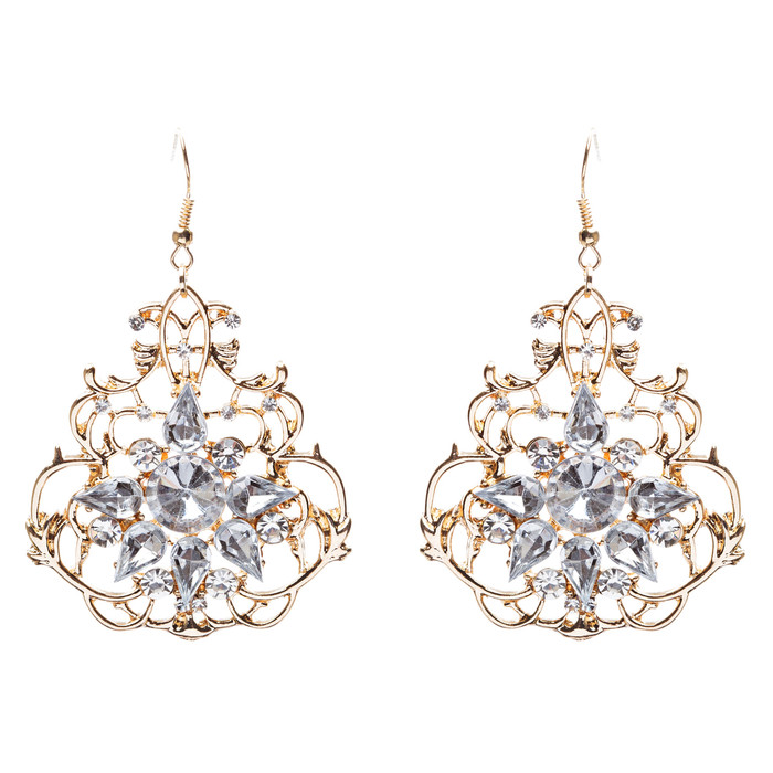 Beautiful Crystal Rhinestone Sophisticated Design Dangle Fashion Earrings Gold