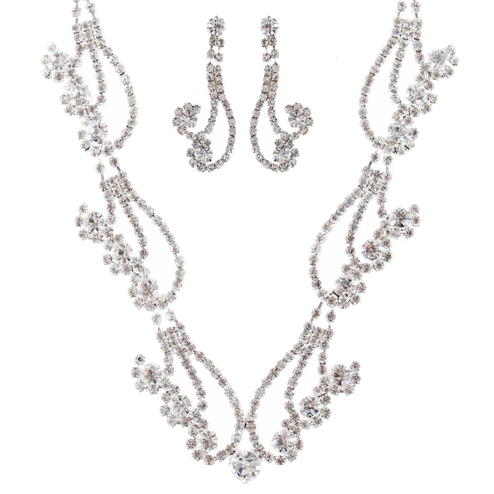 Bridal Wedding Jewelry Set  Necklace Crystal Rhinestone Curly Design Silver