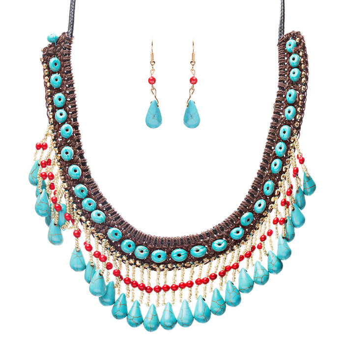 Statement Bohemian Bead Crystal Rhinestone Stone Lace Bib Necklace Set Multi