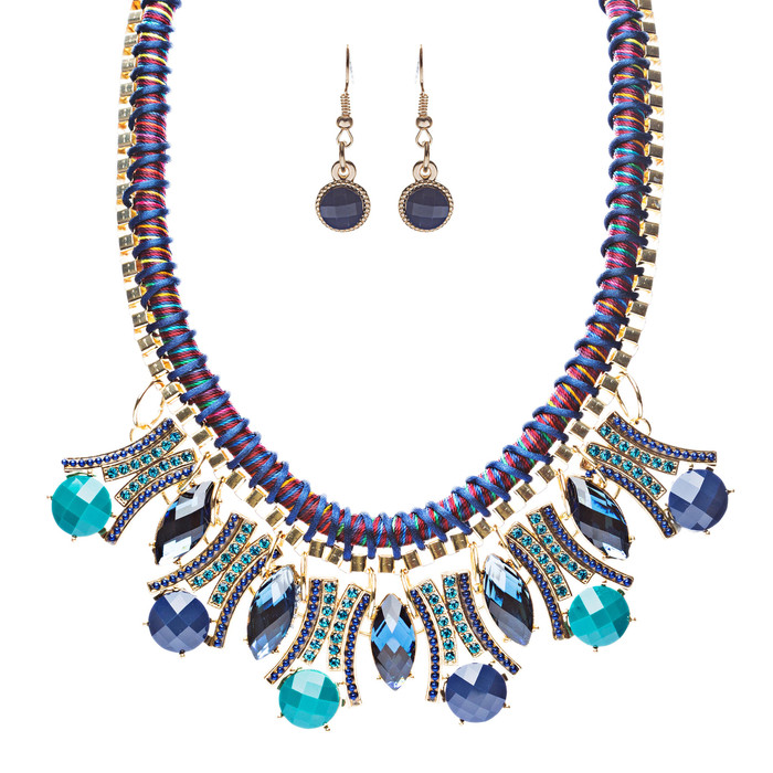 Statement Faceted Gem Bib Style Bold Fashion Necklace Set Gold Blue Navy