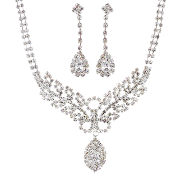 Bridal Wedding Jewelry Set Necklace Earring Crystal Rhinestone Simple Silver