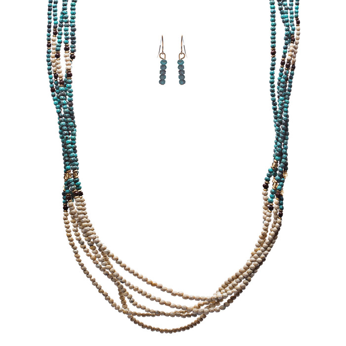 Statement Layered Faceted Bead Long Fashion Necklace Set Beige Turquoise Blue