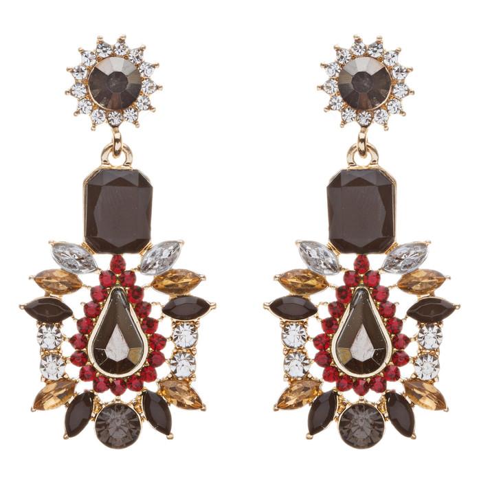 Stunning Beautiful Bohemian Glass Stone Statement Dangle Fashion Earrings Black