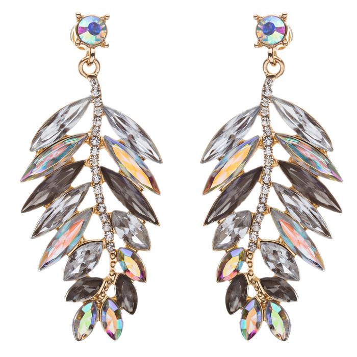 Stunning Beautiful Crystal Rhinestone Leaf Linear Drop Statement Earrings Gray