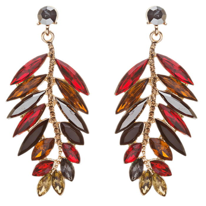 Stunning Beautiful Crystal Rhinestone Leaf Linear Drop Statement Earrings Red