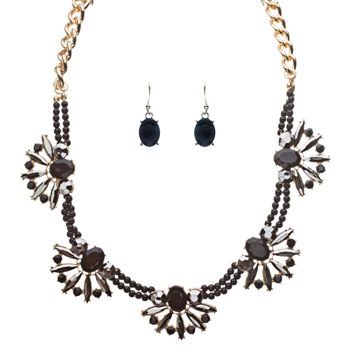 Beautiful Sparkle Crystal Rhinestone Formica Statement Necklace Set Gold Black